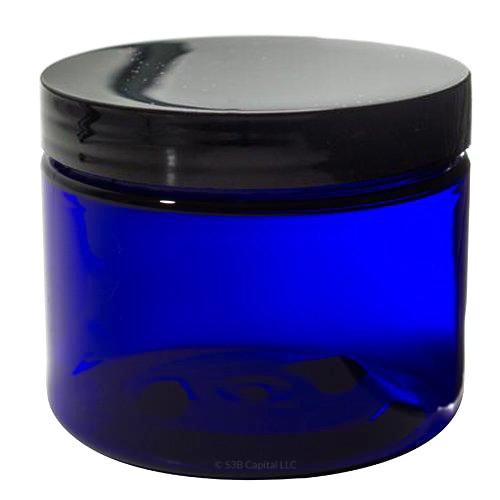 Cobalt Blue 2 oz PET BPA Free Plastic Jar 12 pack Spatulas and Labels