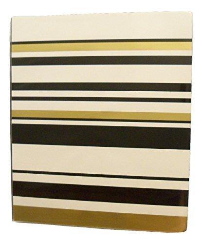 "Carolina Pad Studio C 1"" O-Ring Vinyl Binder with Pockets ~ Gold Digger (Elegant Stripes; 10"" x 11. 5"")"