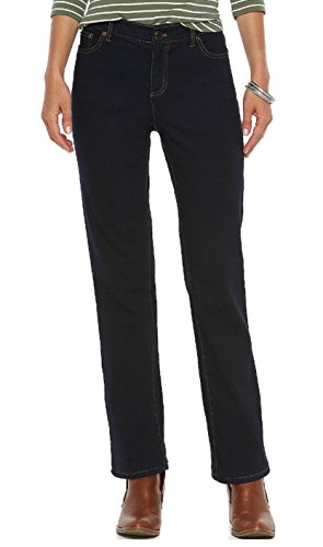 Chaps Womens' Madden Straight Slimming Fit Denim Jeans (4 Long, Dark Blue (Chaps Jeans For Women)