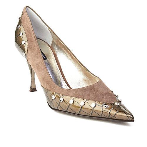Dolce & Gabbana Womens Pointed Toe Crocodile Skin Pump Grey
