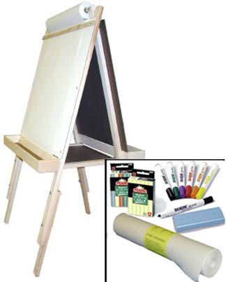 ''Beka Adjustable Double-Sided Easel-and-Supplies Combo #2, Marker Board and Chalkboard Surfaces, Top Paper Holder, Wood Trays''