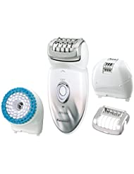 Panasonic Epilator & Exfoliation Brush for Hair Removal and Body Care with Four Attachments and Travel Pouch Wet/Dry, ES-ED64-S