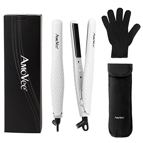 AmoVee Mini Flat Iron Nano-titanium Hair Straightener Dual Voltage for Travel, Heat Resistant Glove and Storage Pouch Included, White