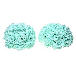 "SODIAL(R) 8""(20cm)Wedding Decorations Artificial Rose Silk Flower Ball Centerpieces Mint Decorative Hanging Flower Ball Wine(sky Blue) 29"