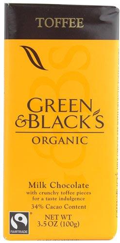 Choc Toffee - Green & Black Organic Milk Choc Toffee 34% Cocoa 3.5 oz (6 bars)