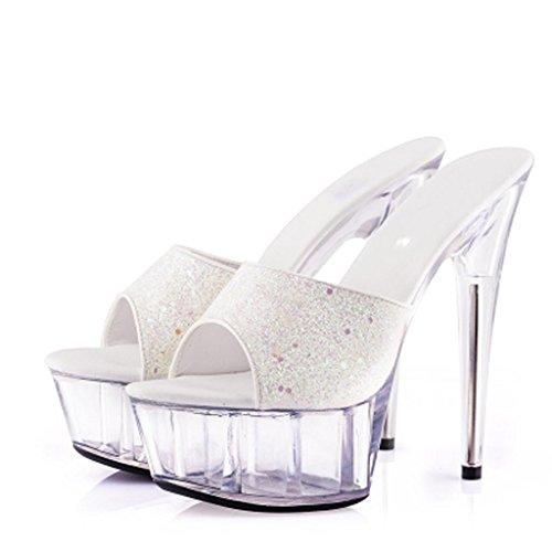 Zapatos Fondo Flop Trabajo Baile Grueso Al Sandalias Salón H Mujer Lugar Aire De Calzado Altos Impermeable Flip Plataforma Libre Tacones 15cm qW4fpzrxqg