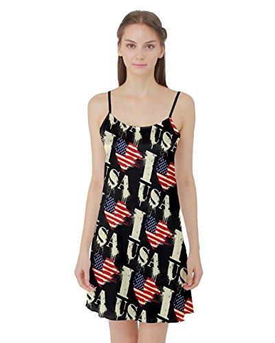 PattyCandy Women's Satin Nightgown Sleepwear Slip Vintage Patriotic USA - 2XL