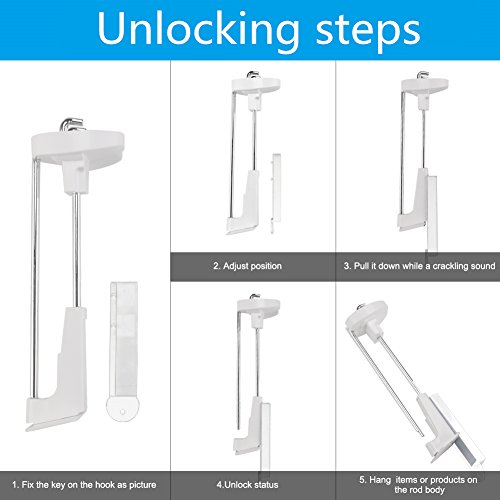 8'' Anti-theft Security Slatwall Hook Retail Display Deluxe Hook with White Plastic Display Cellphone Accessories& Exhibiton products for Office, Retail Shop20pcs a Magnetic Key free XCHTX by XCHTX (Image #3)