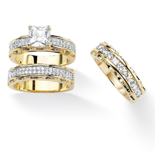 rincess-Cut White Cubic Zirconia 14k Gold-Plated 3-Piece Channel Bridal Ring Set Size 7 ()