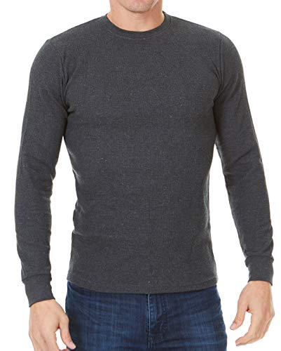 Unique Styles Mens Thermal Top Heavyweight Long Sleeve Waffle Weave Crew Neck (Small, Charcoal) -