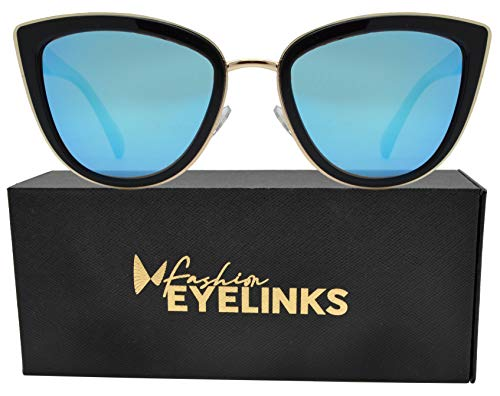 PZ Polarized - Women Cat Eye Metal Bridge Design Mirror Sunglasses (Ice Blue Mirror Lens) ()