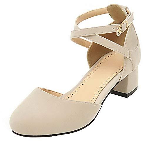 Zapatos Beige Tacón Hebilla Tacón Con Mujeres Mini De Sólido Tsmdh008031 Aalardom wHvqUYxn8