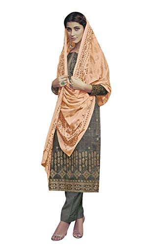 Ladyline Cotton Embroidered Salwar Kameez Ready to Wear Indian Womens Evening Dress (Size_48/ Light Brown) ()