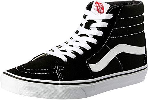 Vans Men's Sk8-Hi Skateboarding Shoes (11.5 US Men / 13 US Women, Black/Black/White Canvas) (Best Vans Shoes For Skateboarding)