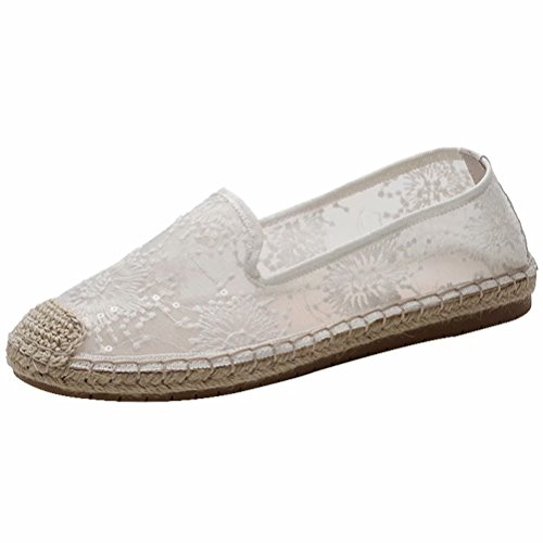 (LANCROP Women's Loafers Slip On Sneakers - Comfortable Mesh Hollow Floral Lace Sequin Sparkly Flat Shoes 6 M US White)