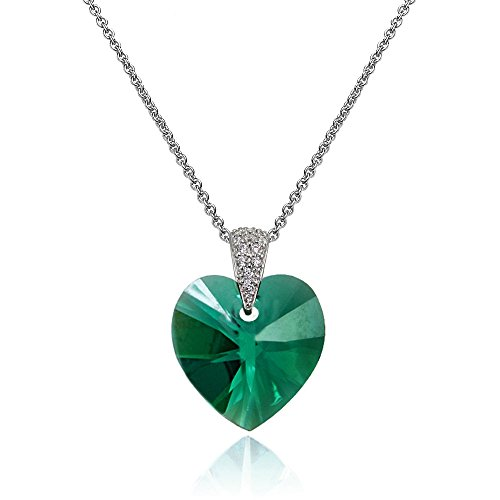 Sterling Silver Green Heart Necklace Created with Swarovski Crystals