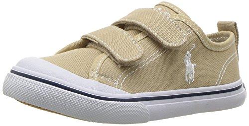 Polo Ralph Lauren Kids Unisex-Kids Carlin EZ Sneaker, Khaki, 12.5 Medium US Little Kid