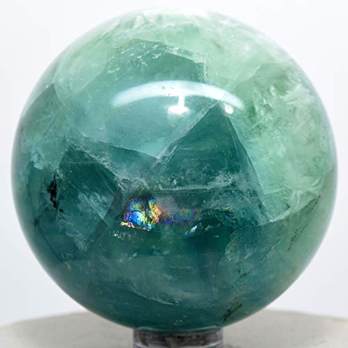 57mm Rainbow Green Blue Fluorite Sphere Natural Sparkling Mineral Decor Ball Polished Crystal Gemstone - China + Stand