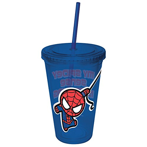 ICUP Marvel's Comics Kawaii My Spider Sense is Tingling Spiderman 16oz. Plastic Cup with Straw