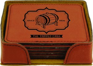 (Set of 6 Engraved Rawhide Square Leather Coasters with Holder )