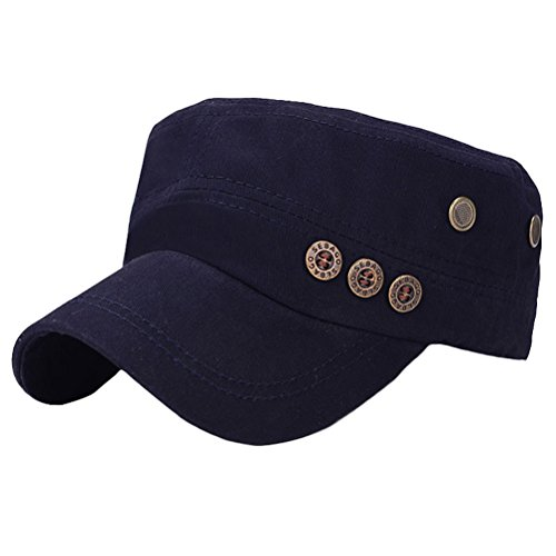 MatchLife Unisex Flat Top Cadet Cap Washed Cotton Twill Distressed Military Corps Hat Solid Peaked Cap Vintage Style style 3 navy