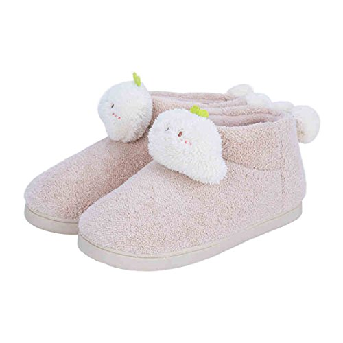 SANNIX Women's Cute Warm Plush Soft Sole Cover Heel Indoor Slipper(Beige,L,8.5-9.5) (Child Purple Furry Boot Covers)