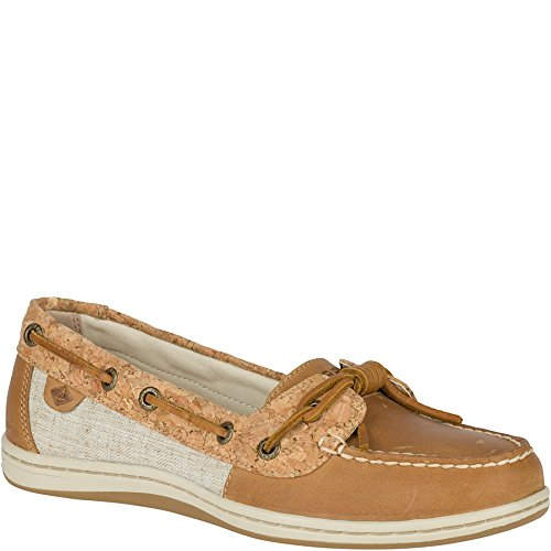 Sider Leather Tie Top Sperry (Sperry Top-Sider Women's Barrelfish Boat Shoe (9 M US, Brown, Tan))