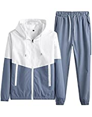 Men's casual sportswear 2-piece sports jogging hooded cardigan sports suit,Tracksuit Zip Up Hooded Top & Bottom Trouser Jogger Sweat Suit Set For Jogging Running Sports (Color : Blue, Size : S)