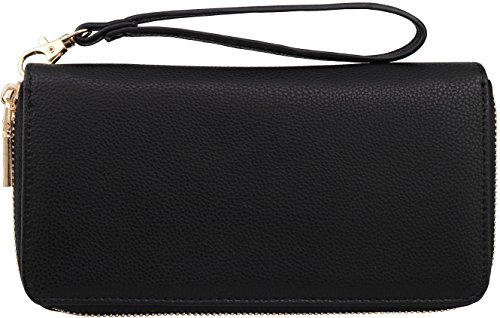 B BRENTANO Vegan Double-Zipper Wallet Clutch with Removable Wrist Strap (Black Fashion Wallet Clutch)