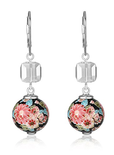 Lanfeny Rhodium Plated 925 Sterling Silver Dangle Earrings with Baroque Flowers and Swarovski Cube-shape - Flower Baroque
