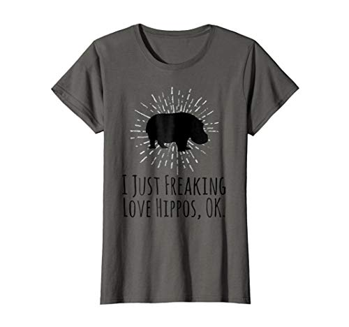 Hippos Love (Womens I Just Freaking Love Hippos OK Funny Hippo Lovers T-Shirt XL Asphalt)