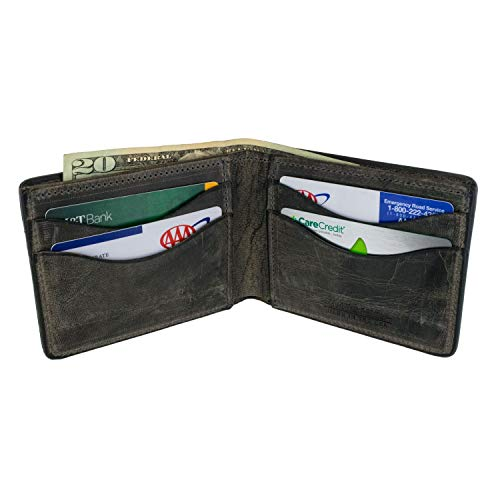 Hanks Bi-Fold Leather Wallet - Holds 8-13 Cards - USA Made, 100-Year Warranty - Vintage Grey ()
