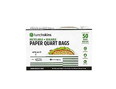 Lunchskins 100% Recyclable + Sealable Sandwich Bags, Apple (Box of 50 )