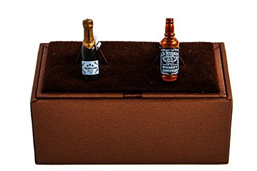 MRCUFF Champagne & Whiskey Bottles Pair Cufflinks in a Presentation Gift Box & Polishing Cloth