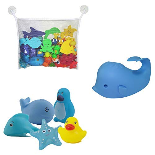 Bath Toy Organizer For Kids Bath Toys With Faucet Cover (Blue Whale) from Aurelie Live Well