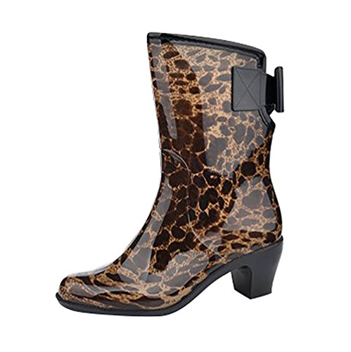 Shoes Rain Garden Footwear LvRao Smooth Wellington Leopard Waterproof Women's Boots Rubber Wellies 5fHqv