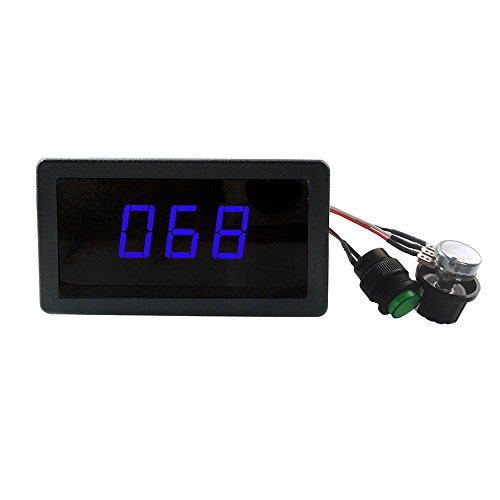uniquegoods 6V 12V 24V Digital Display LED DC Motor Speed Controller PWM Stepless Speed Control Switch HHO Driver - Black CCM5D BLUE