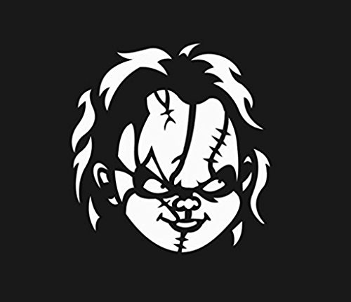 Chucky Bride Tiffany Of Costumes (Chucky Face Vinyl Cut Decal Sticker | Horror Halloween Scary Funny | Cars Trucks Vans Walls Laptop | White | 5.5 In Tall |)