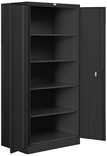 Salsbury Industries Heavy Duty Assembled Storage Cabinet, 78-Inch High by 18-Inch Deep, Black