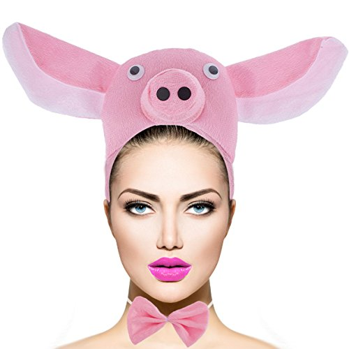 Lux Accessories Pink Pig Bow Tail Kids Adult Halloween Accessory Costume Set 3PC