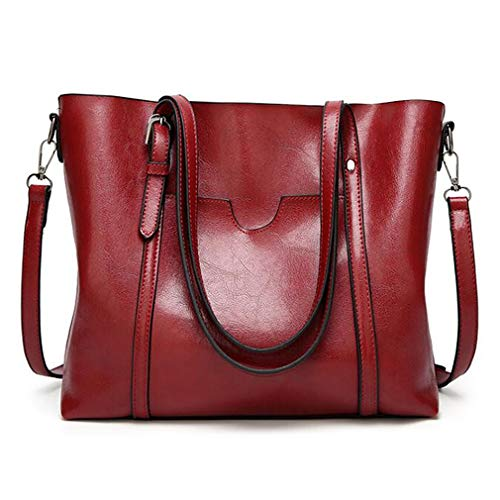 (Pahajim Women Top Handle Handbags Soft Leather Work Tote Large Shoudler Bag Satchel Bag(Red))