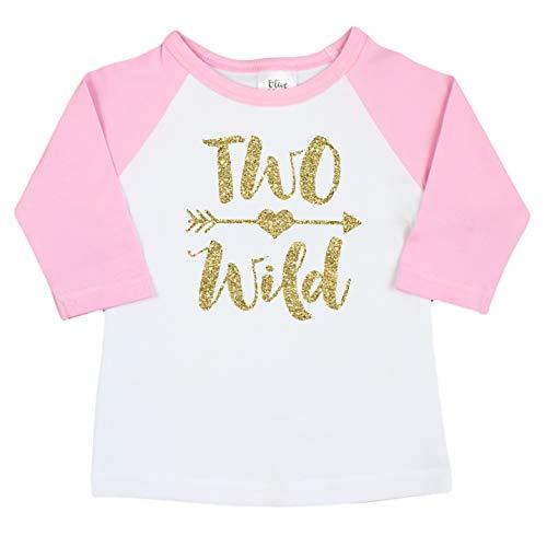 Two Wild Glitter Gold 2nd Birthday Shirt For Girls Pink Raglan Baseball Tee Second