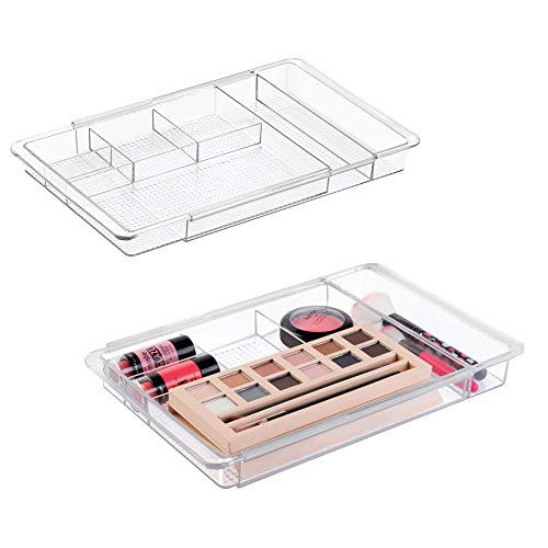mDesign Expandable Organizer for Makeup Brushes, Cosmetics, Makeup - Pack of 2, 11.25'' x 7.75'' x 1.25'', Clear by mDesign