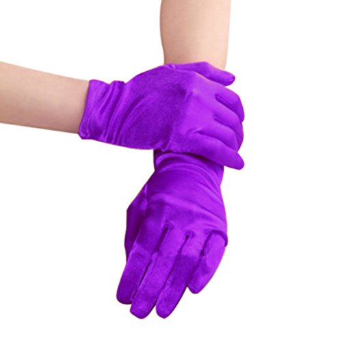 [Women Ladies Sexy Soft Satin Short Gloves Costume Fancy Dress Cosplay Cos Ball Party Gloves Purple] (Hen Night Costume Accessories)