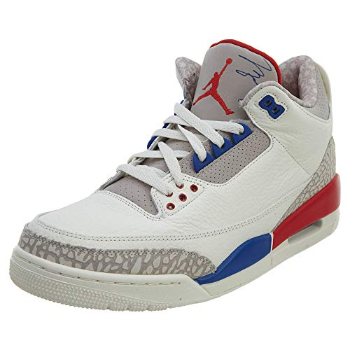 Jordan Nike Men's Air 3 Retro International Flight Sail/Sport Royal-Light Bone 136064-140 (Size: 14)