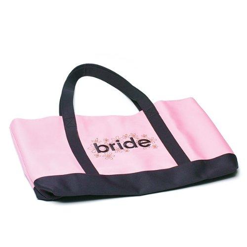 """Manico–Borsa in rosa e marrone con la scritta """"Bride–La begleitta isotermico per una futura sposa ideale"""