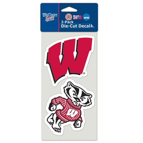 (Patch Collection Wisconsin Badgers Logos Die Cut Decals 2-Pack 4 X 8)