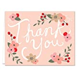 Floral Script - 36 Thank You Note Cards for $16.99 - Blank Cards - Gray Envelopes Included