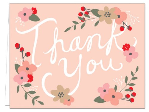 Note Card Cafe Thank You Cards with Envelopes | 36 Pack | Blank Inside, Glossy Finish | Floral Script | Set for Greeting Cards, Occasions, Birthdays, Gifts