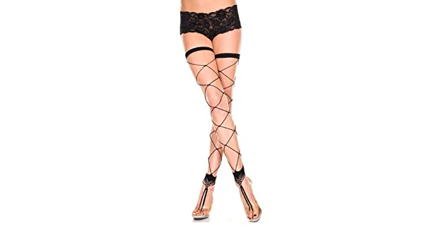 ebce35b06 Amazon.com  Music Legs Footless Big Diamond Net Thigh Highs Black One Size  Fits Most  Lingerie Sets  Clothing